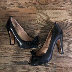 Marc Jacobs Black Leather Peep Toe Pumps 35